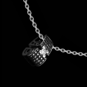 Pendant for women BlackLight Shine a 0.30 carat princess cut white diamond and black diamonds