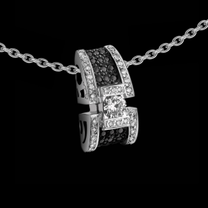Women's pendant BlackLight Sparkle in white diamonds and black diamonds