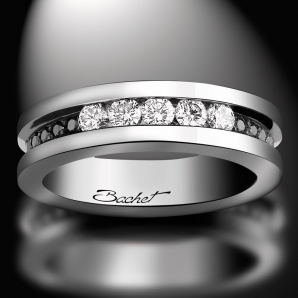 Women's wedding ring Light in Paris platinum white and black diamonds