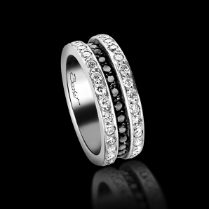 Alliance Femme Scroll in Love platine diamants blancs et