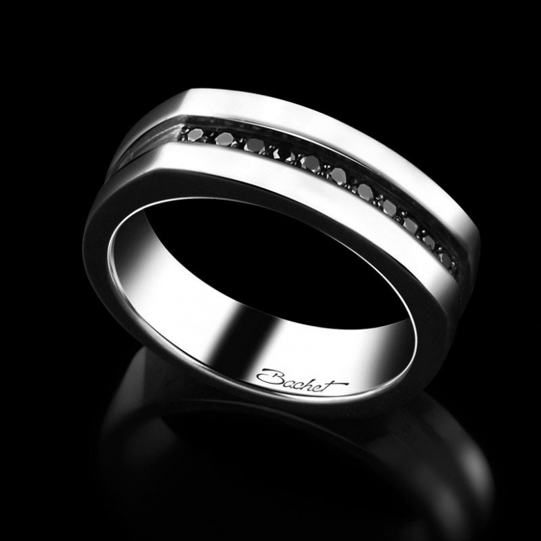 Men's signet ring Charmeur platinum and black diamonds