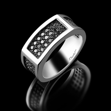 Men's signet ring Charismatik platinum and black diamonds