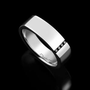 Men's signet ring Spirit platinum and black diamonds