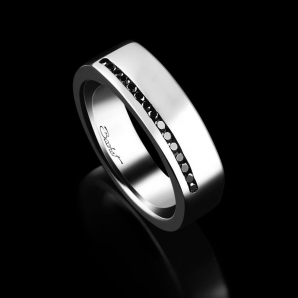 Men's signet ring Perfect platinum and black diamonds