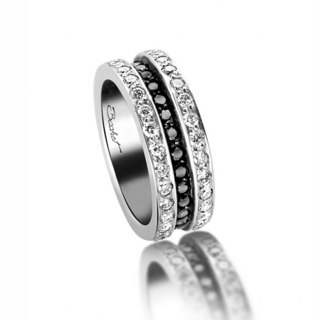 Wedding ring with black and white diamonds