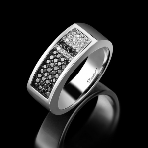Men's signet ring Audacieux platinum white diamonds and black diamonds