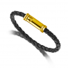 Leather bracelet in yellow gold 18k