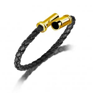 Yellow gold leather bracelet