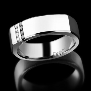 Men's ignet ring Dynamik platinum black diamonds and white diamonds