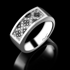 Men's signet ring Épicurien platinum black diamonds and white diamonds