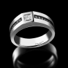 Men's signet ring Master platinum white diamond and black diamonds