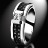 Bague de fiançailles BlackLight Shade diamant blanc et diamants noirs