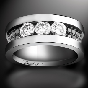 Women's ring Trilogy platinum white diamonds and black diamonds