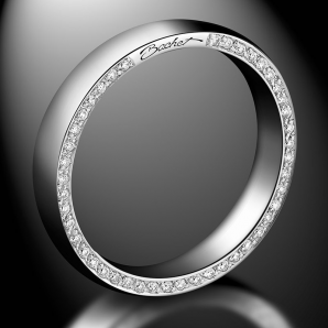 Men's wedding ring Subtile platinum white and black diamonds