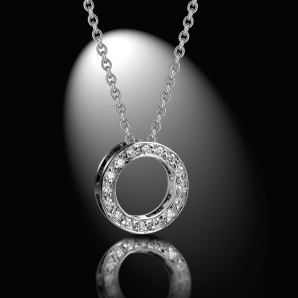 Women's pendant DayLight Cercle, set with white diamonds