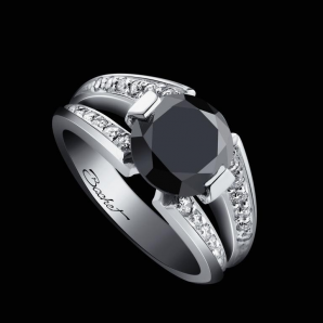 Engagement ring BlackLight Sweet platinum black diamond and white diamonds