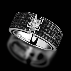 Engagement ring BlackLight Shine platinum white diamond and black diamonds