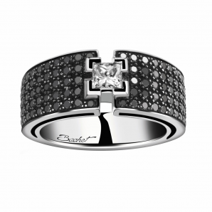 Bague de fiançailles BlackLight Shine platine diamant blanc et diamants noirs