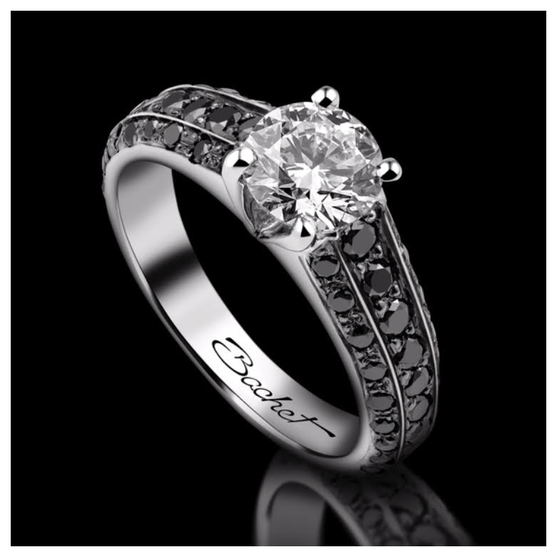 Engagement ring BlackLight Sublime in platinum set with a white diamond and black diamonds