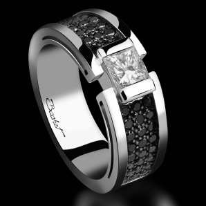 Engagement ring BlackLight Shade platinum white diamond and black diamonds