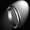 Platinum wedding band set with 0.015 carat black diamonds AAA quality