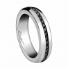 Men's ring in platinum and black diamonds of 0.02 carat AAA quality