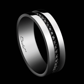 Men's wedding ring Sense of Light platinum and black diamonds