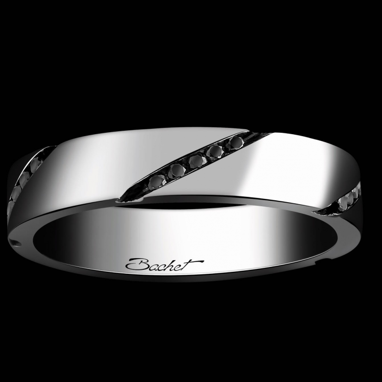 Alliance Homme Wrapped in Love platine et diamants noirs