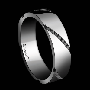 Men's wedding ring Wrapped in Love platinum and black diamonds