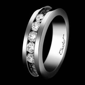Alliance femme Light in Paris platine diamants blancs et noirs