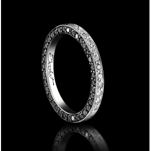 Alliance Femme Light of Love platine diamants blancs et noirs