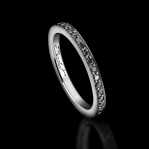 Alliance Femme Light of Love platine et diamants noirs