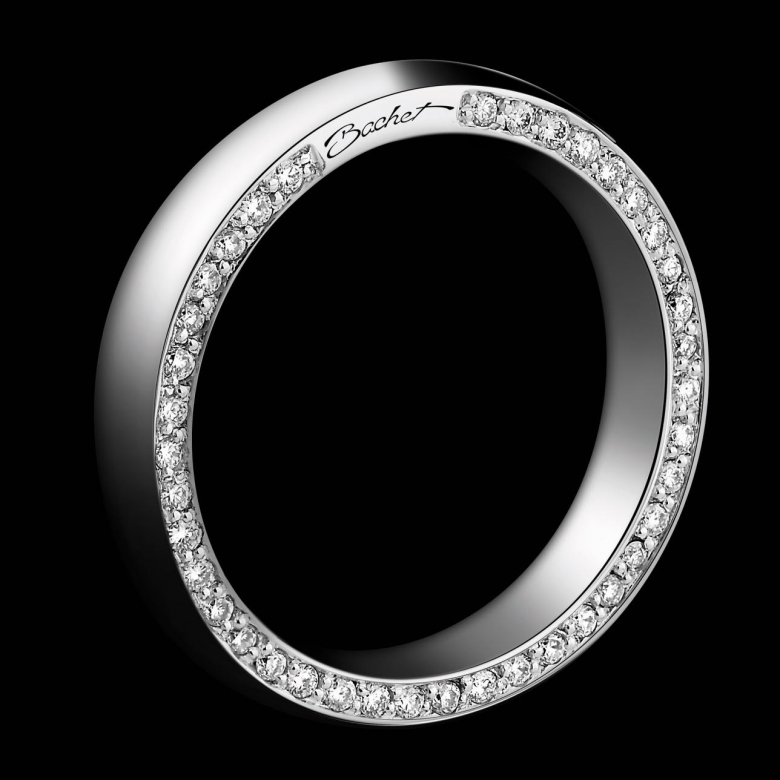 Women's wedding ring Subtile platinum white and black diamonds