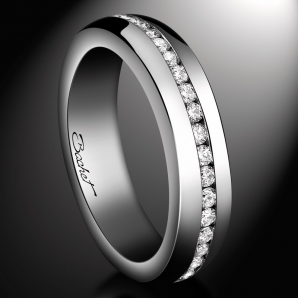 Women's platinum and diamond wedding band