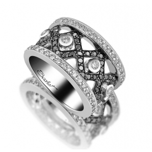 Women's ring BlackLight Rock white diamonds and black diamonds