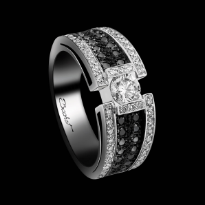 Solitaire BlackLight Sparkle platine diamants blancs et diamants noirs
