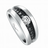 Engagement ring BlackLight Soft platinum white diamond and black diamonds