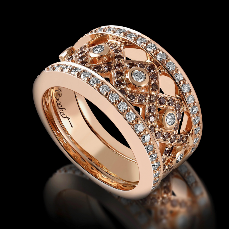 Bague femme Rock or rose diamants blancs et diamants bruns