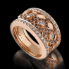 Women's ring Rock rose gold white diamonds and brown diamonds