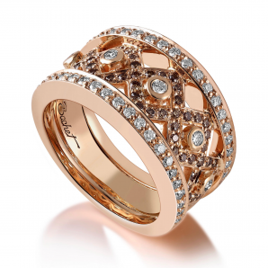 Bague en or rose et diamants