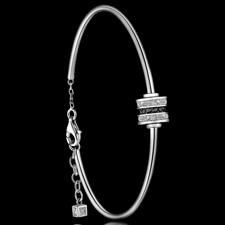 Women's Bangle Bracelet Scroll in Love set with black and white diamonds