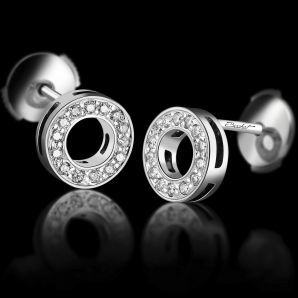 Women's earrings DayLight Cercle set with white diamonds