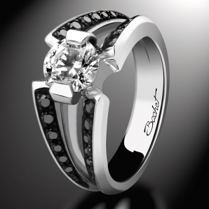 Bague de fiançailles solitaire BlackLight Sweet platine diamant blanc et diamants noirs