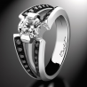 Engagement ring BlackLight Sweet platinum white diamond and black diamonds