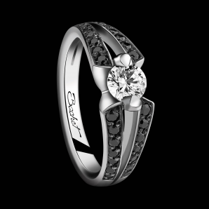 Engagement ring BlackLight Sweet Side platinum white diamond and black diamonds