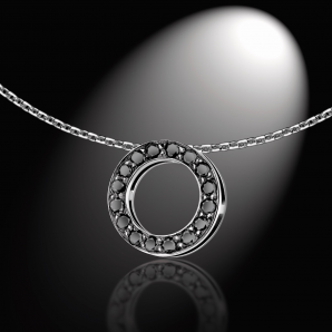Women's pendant BlackLight Cercle, set with black diamonds