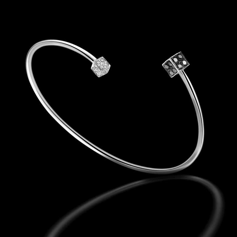 Women's semi-rigid bracelet BlackLight Cube set with black and white diamonds